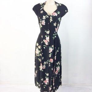 Dress Barn Women's Maxi Dress Size 0 Black Floral